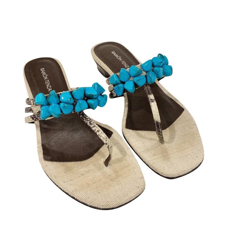 New Ramon Tenza Spain Turquoise Snakeskin Flat Sandal Slide Sz 9 In New Condition For Sale In Leesburg, VA