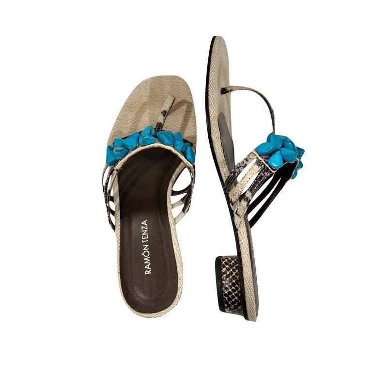 New Ramon Tenza Spain Turquoise Snakeskin Flat Sandal Slide Sz 9 For Sale 1