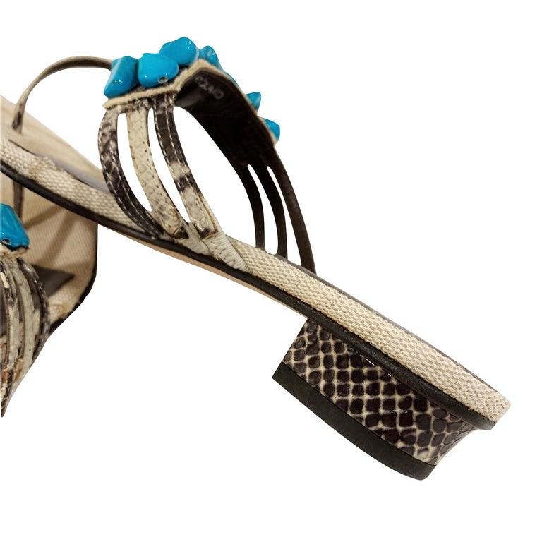 New Ramon Tenza Spain Turquoise Snakeskin Flat Sandal Slide Sz 9 For Sale 3