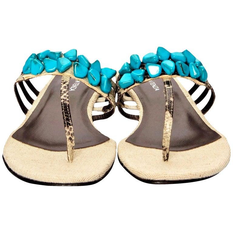 New Ramon Tenza Spain Turquoise Snakeskin Flat Sandal Slide Sz 9 For Sale
