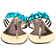 New Ramon Tenza Spain Turquoise Snakeskin Flat Sandal Slide Sz 9