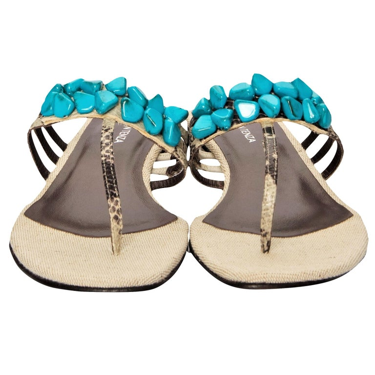 Ramon Tenza Spain Brand New Beige & Turquoise Thong Sandals * Padded Leather Footbed * Snakeskin Heel & Strap * Faux Turquoise Beading * Size: 9.5 * 1.25