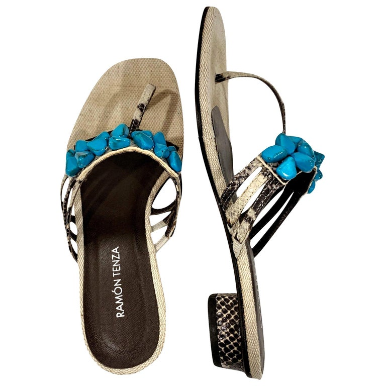 New Ramon Tenza Spain Turquoise Snakeskin Flat Sandal Slide Sz 9.5 For Sale