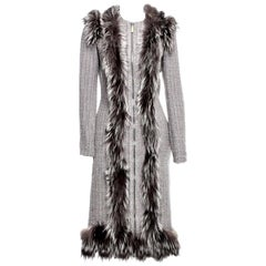 New Rare Alexander McQueen F/W 2011 Fox Fur & Wool Runway Coat Dress IT42