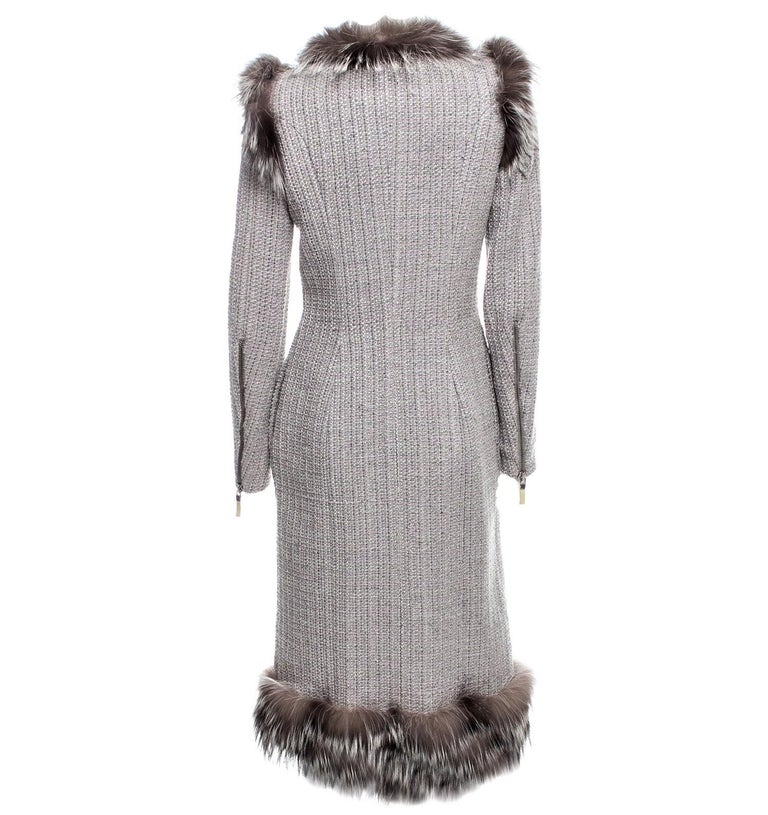 New Rare Alexander McQueen F/W 2011 Fox Fur & Wool Runway Coat Dress IT42  For Sale 8