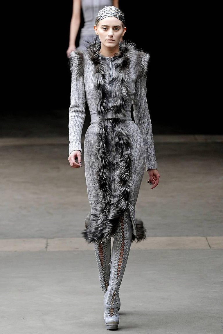Alexander McQueen Fall Winter 2011 Brand New  Runway Wool Fox Coat/Dress Italian 42   Grey Fully Lined in Silk Zippers Throughout the Piece Easily Convert it from a Coat to a Dress  Bust: 36
