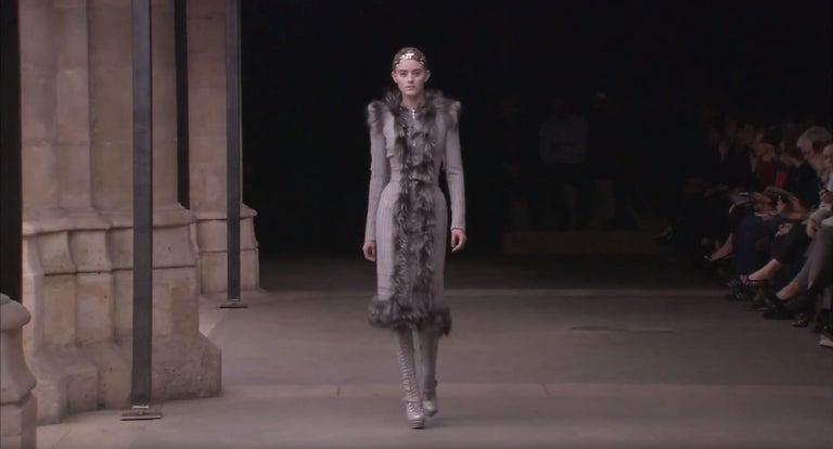 New Rare Alexander McQueen F/W 2011 Fox Fur & Wool Runway Coat Dress IT42  For Sale 1