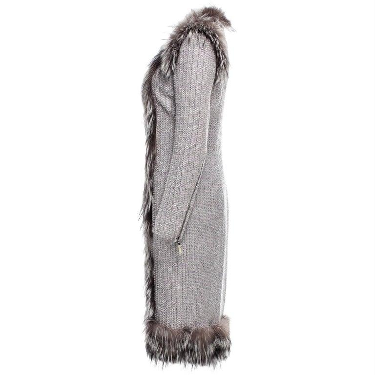 New Rare Alexander McQueen F/W 2011 Fox Fur & Wool Runway Coat Dress IT42  For Sale 2