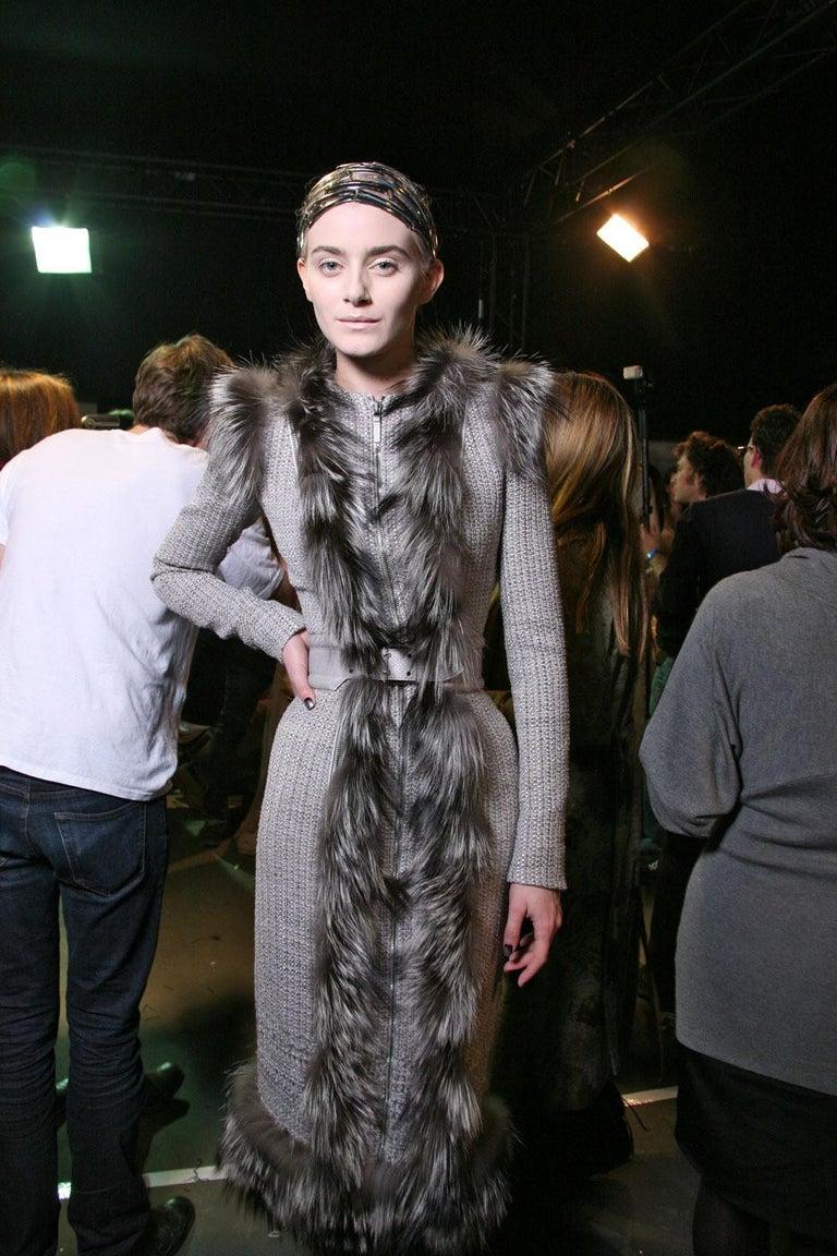 New Rare Alexander McQueen F/W 2011 Fox Fur & Wool Runway Coat Dress IT42  For Sale 4
