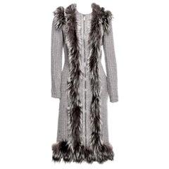 New Rare Alexander McQueen F/W 2011 Fox Fur & Wool Runway Coat  IT42 U.S. 4/6