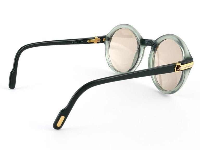 New Rare Cartier Cabriolet Round Jade & Gold 49MM 18K Sunglasses France 1990's For Sale 2