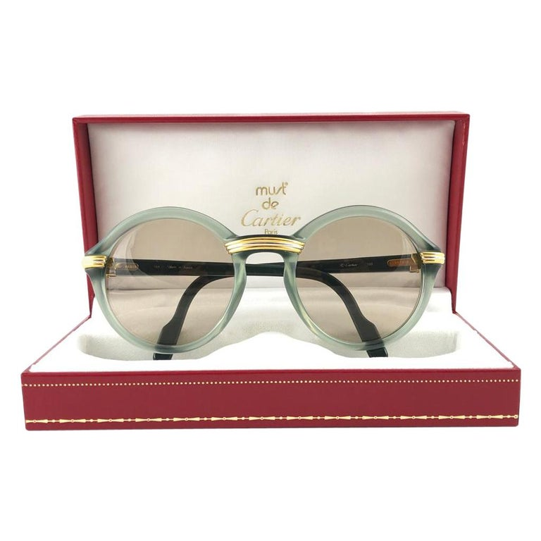 New Rare Cartier Cabriolet Round Jade & Gold 49MM 18K Sunglasses France 1990's For Sale