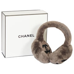 New Rare Chanel Shearling Gray Black Ear Muffs