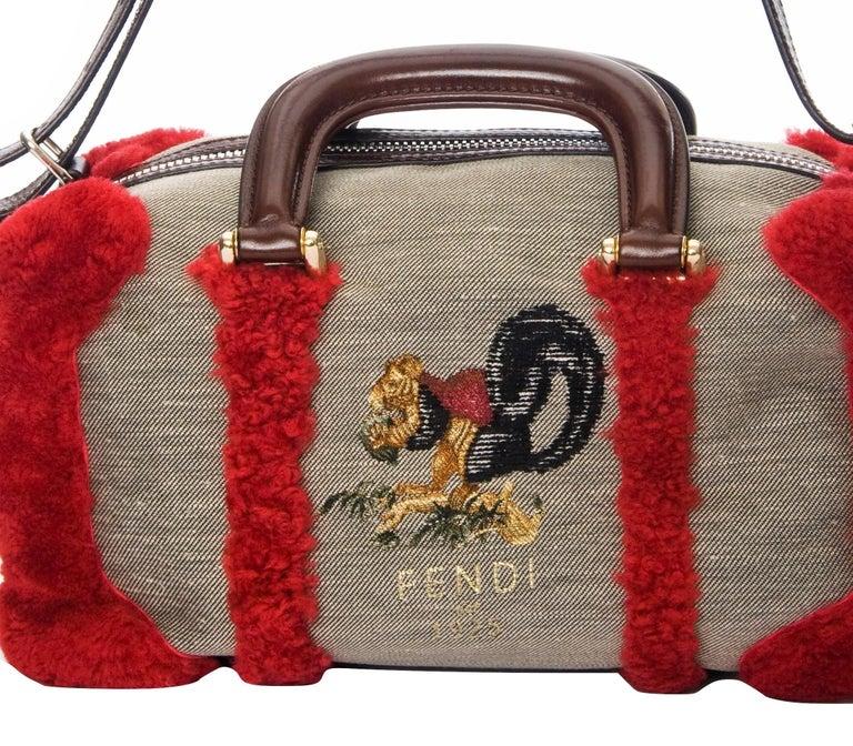 New Rare Fendi Squirrel Fall 2005 Shearling Runway Bag $3950 For Sale 10