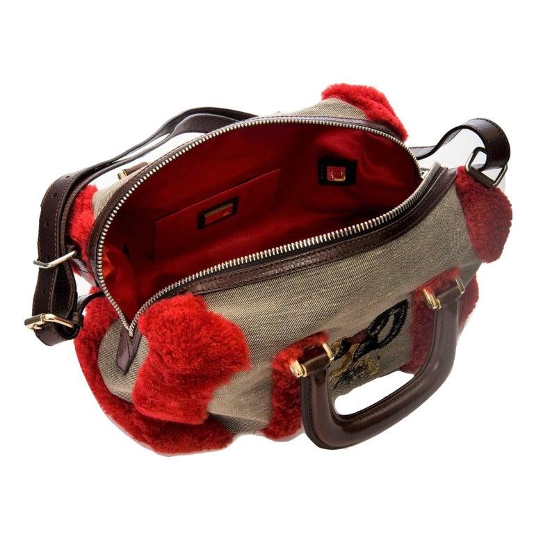 Women's New Rare Fendi Squirrel Fall 2005 Shearling Runway Bag $3950 For Sale