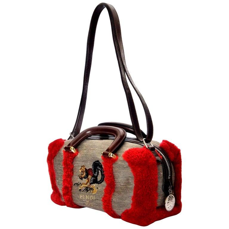 New Rare Fendi Squirrel Fall 2005 Shearling Runway Bag $3950 For Sale