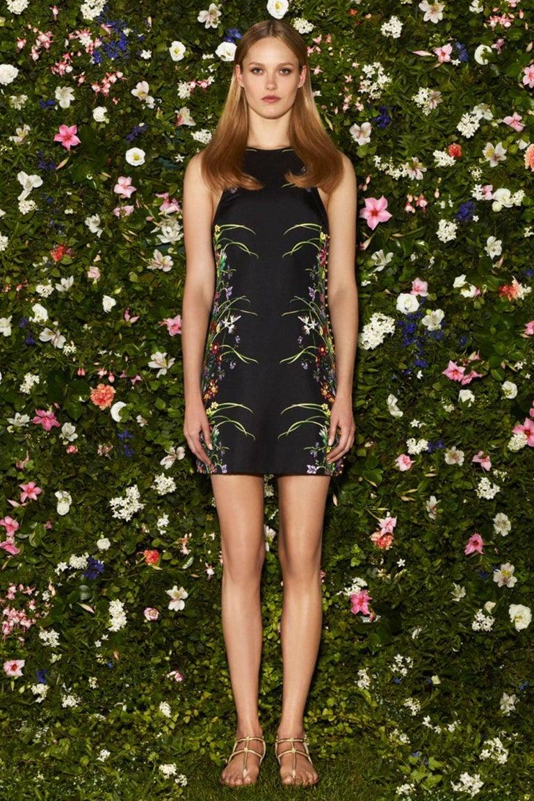 New Rare Gucci Black Flora Silk Dress S/S 2013 Sz 40 $1475 In New Condition For Sale In Leesburg, VA