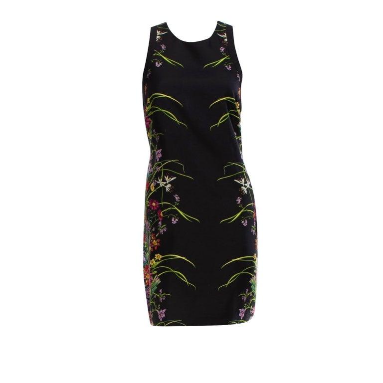 New Rare Gucci Black Flora Silk Dress S/S 2013 Sz 40 $1475 For Sale 2