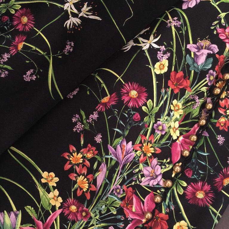 New Rare Gucci Black Flora Silk Dress S/S 2013 Sz 40 $1475 For Sale 3