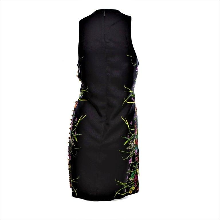 New Rare Gucci Black Flora Silk Dress S/S 2013 Sz 40 $1475 For Sale 4