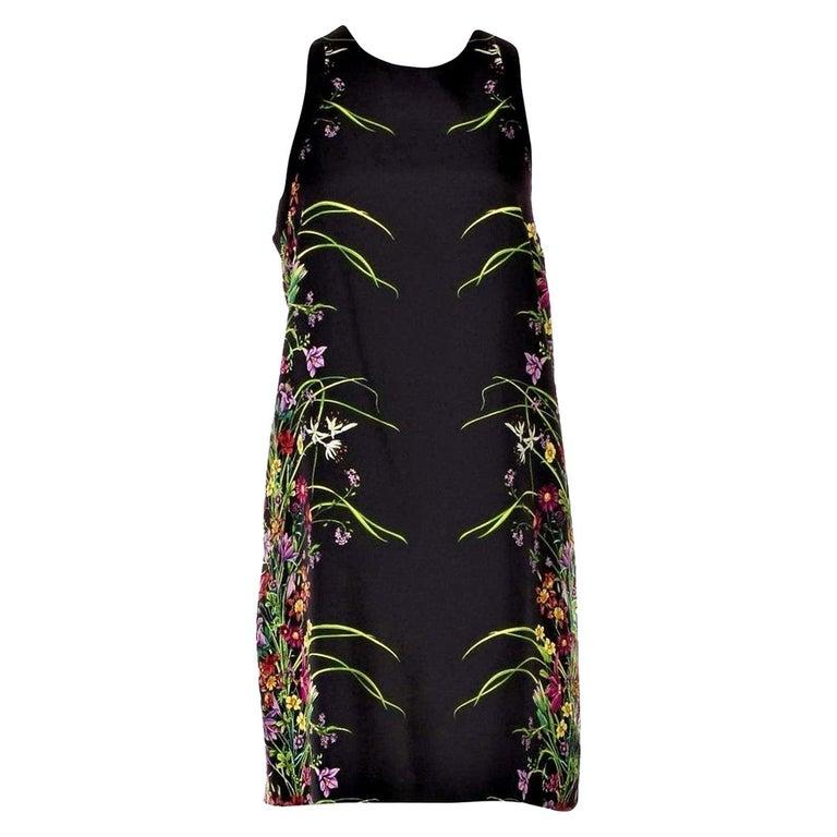New Rare Gucci Black Flora Silk Dress S/S 2013 Sz 40 $1475 For Sale