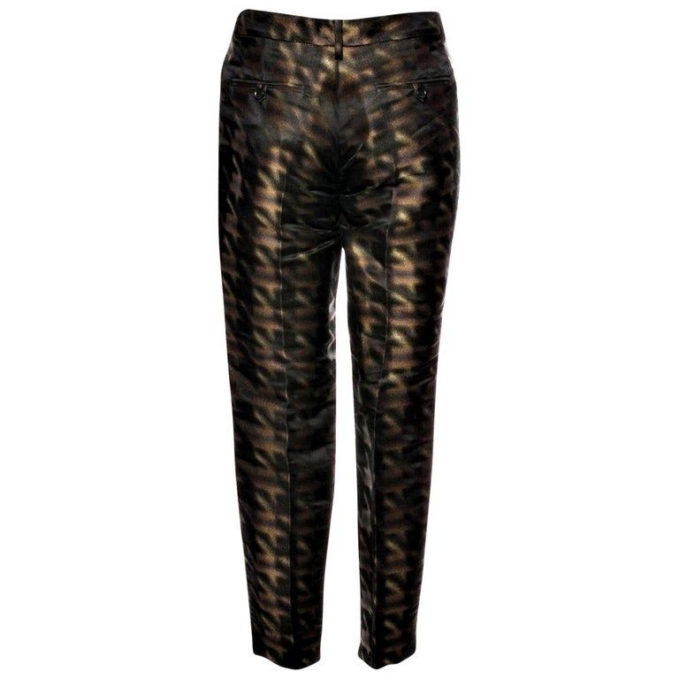 New Rare Gucci Brown & Black Silk Abstract Runway Pants F/W 2013 Sz 42  For Sale
