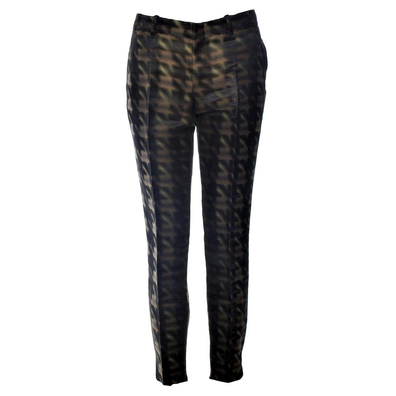 New Rare Gucci Brown & Black Silk Abstract Runway Pants F/W 2013 Sz 42