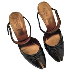 New Rare Gucci Crocodile and Patent Leather Heels Mules Sz 37