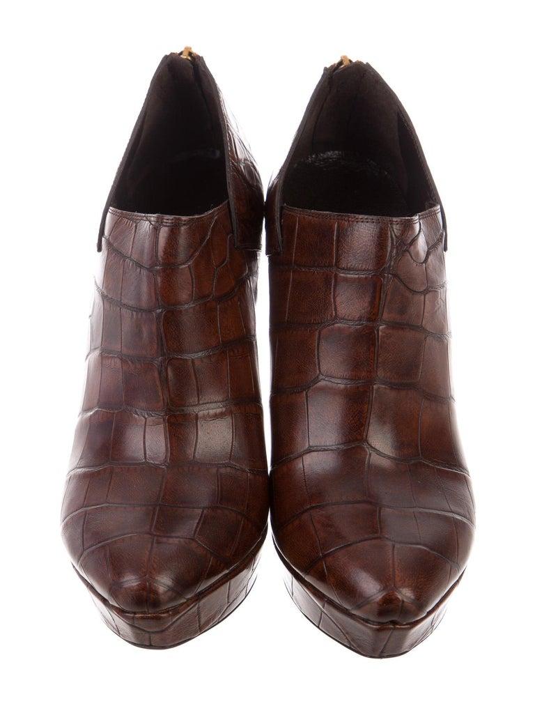 Brand New Gucci Crocodile Platform Booties $2675 Size: 38 Brown Crocodile Heel 5