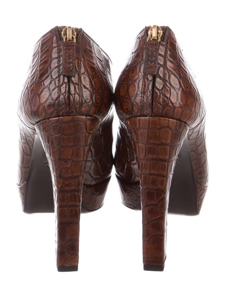 Black New Rare Gucci Crocodile Platform Heels Pumps Booties Boots Sz 38 For Sale