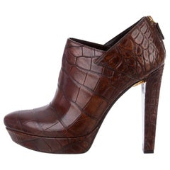 New Rare Gucci Crocodile Platform Heels Pumps Booties Boots Sz 38