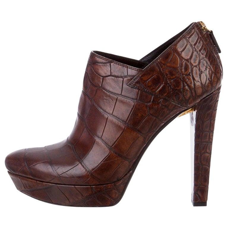 New Rare Gucci Crocodile Platform Heels Pumps Booties Boots Sz 38