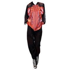 New Rare Gucci Runway Ad Silk Pantsuit Suit & Pants S/S 2014 Sz 44/38 U.S. 6/8