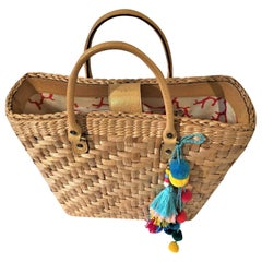 New Rare Kate Spade Spring 2005 Large Wicker Straw Tote Bag