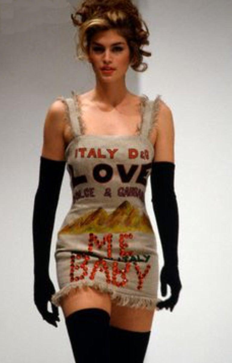 NEW Rare Museum Piece - Dolce & Gabbana 1992 Printed Jute Sack Dress For Sale 1