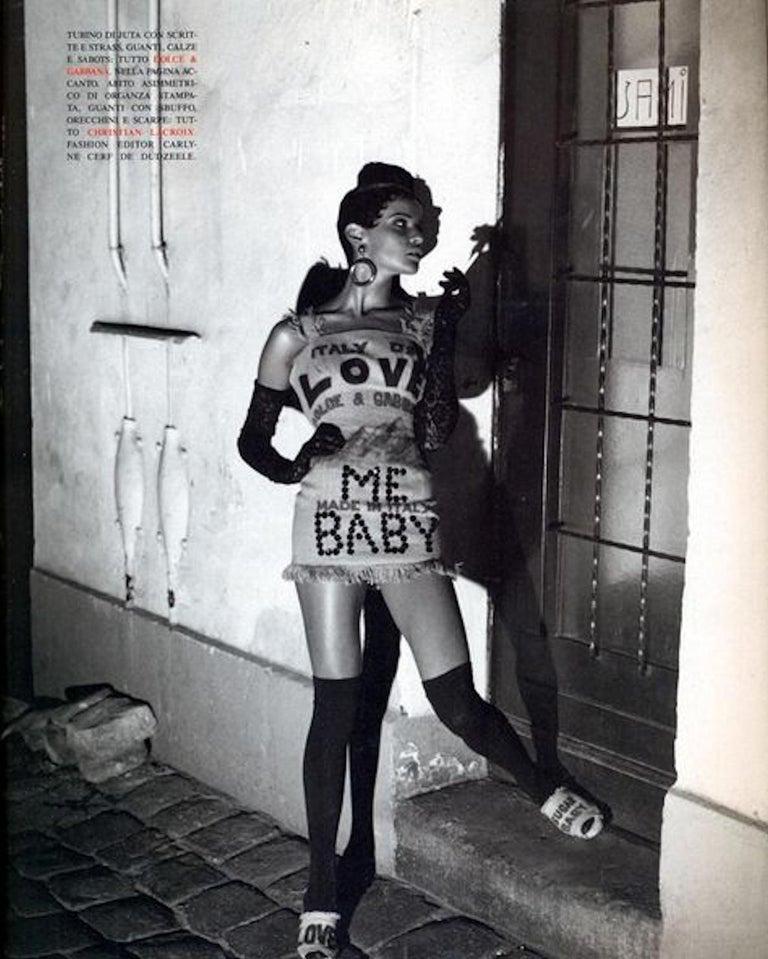 NEW Rare Museum Piece - Dolce & Gabbana 1992 Printed Jute Sack Dress For Sale 3