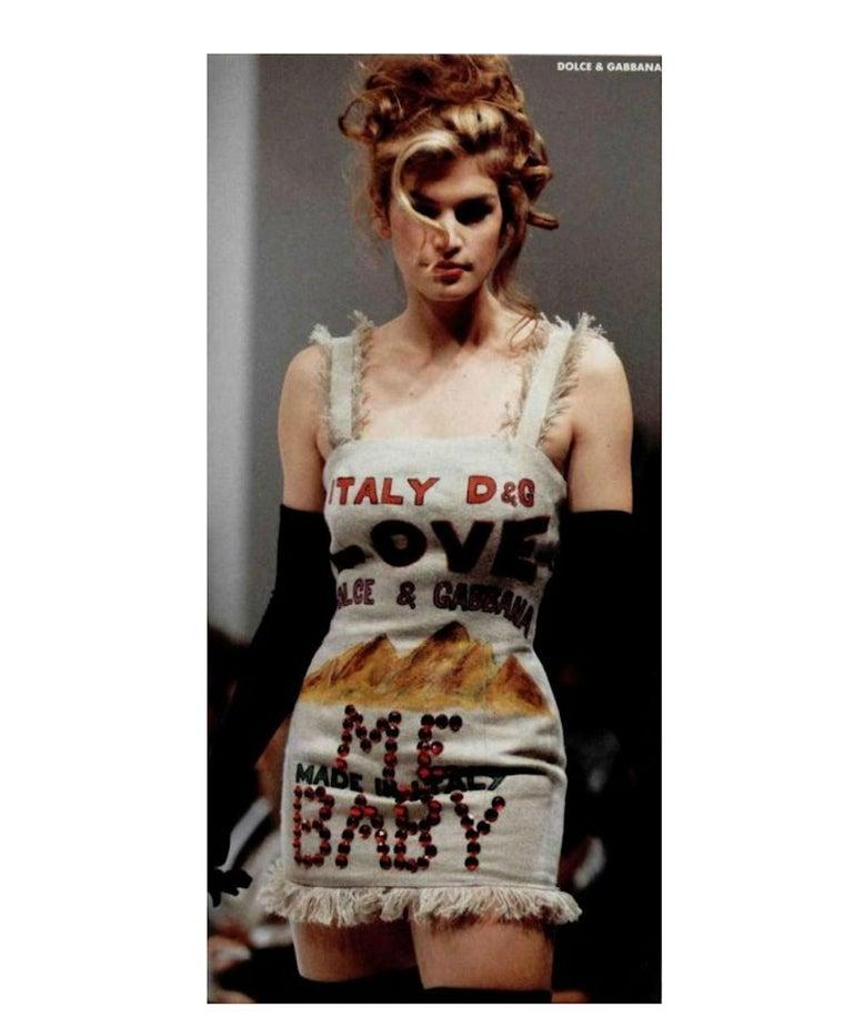 NEW Rare Museum Piece - Dolce & Gabbana 1992 Printed Jute Sack Dress For Sale 4