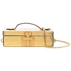 New Rare Oscar De La Renta 2020 Gold Alibi Minaudière Bag With Box & Tags $1890