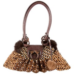 New Rare Salvatore Ferragamo Mink Wood Beaded Snakeskin Bag With Tags