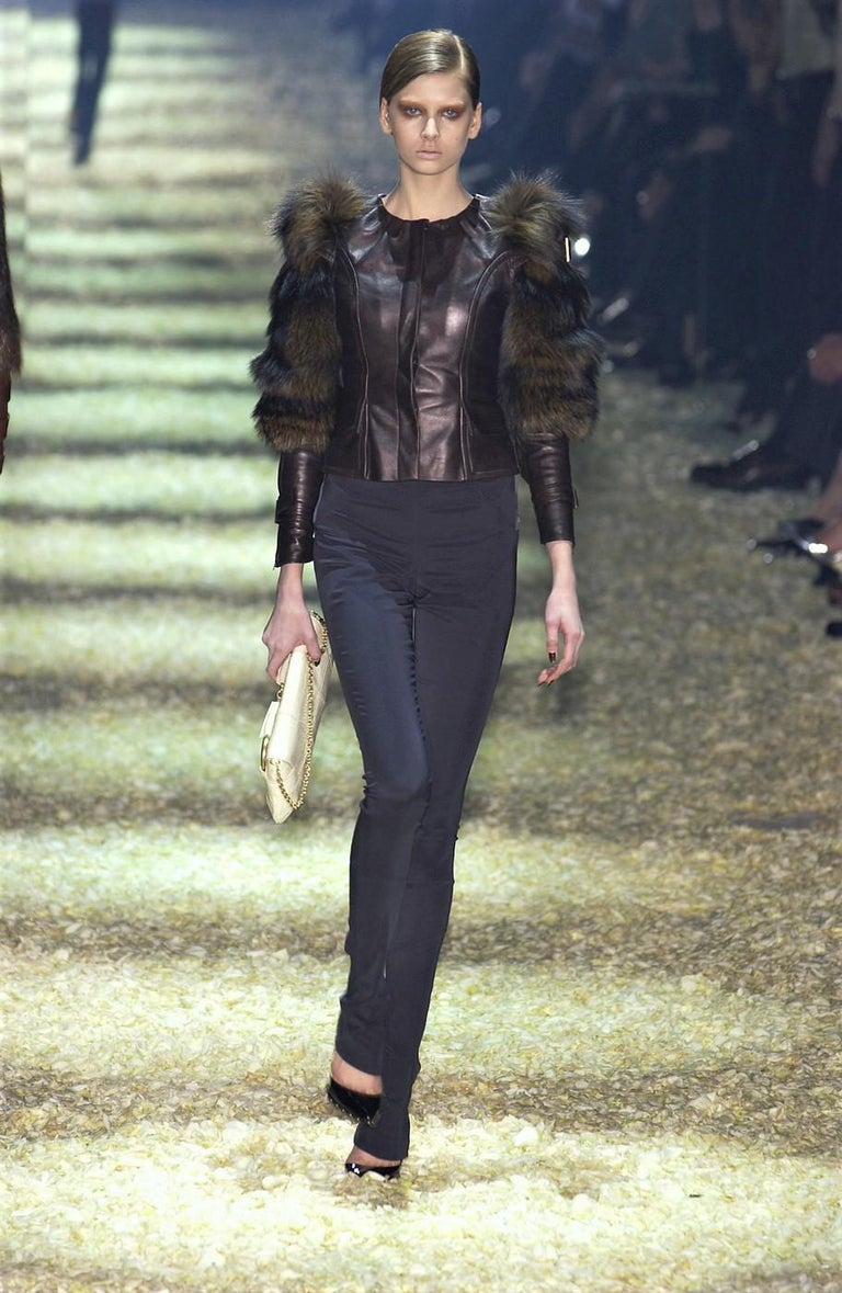 Black New Rare Tom Ford for Gucci F/W 2003 Fox Fur Runway Ad Jacket Coat Sz 40 $9,650 For Sale