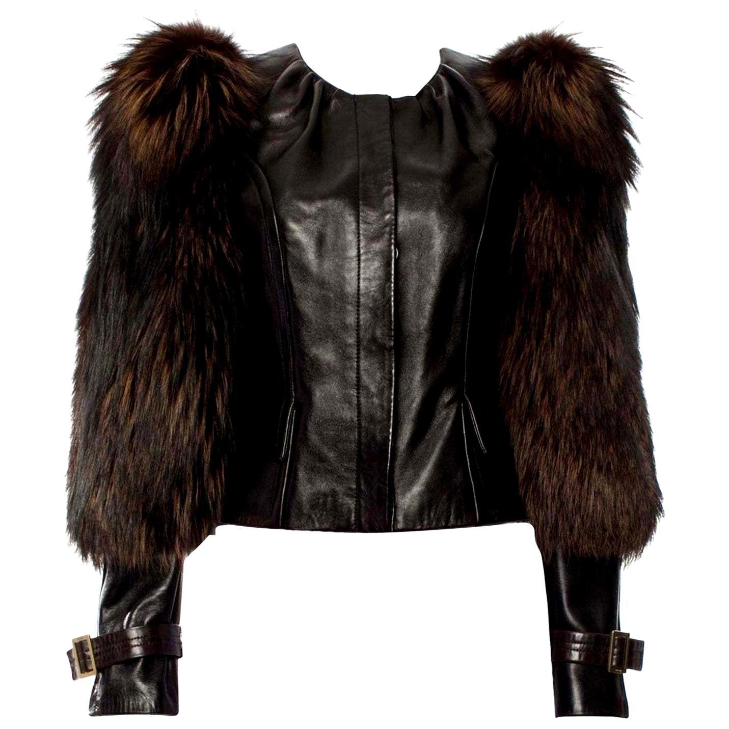New Rare Tom Ford for Gucci F/W 2003 Fox Fur Runway Ad Jacket Coat Sz 40 $9,650