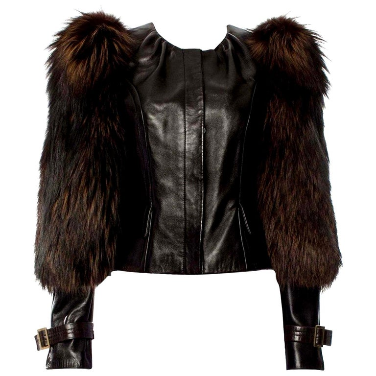 New Rare Tom Ford for Gucci F/W 2003 Fox Fur Runway Ad Jacket Coat Sz 40 $9,650 For Sale
