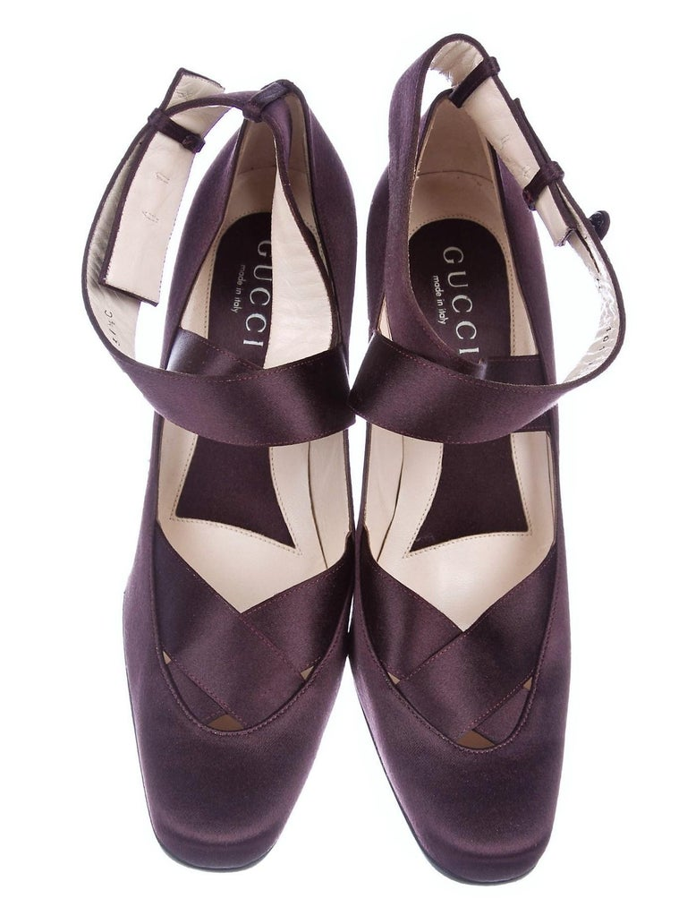 Women's New Rare Tom Ford for Gucci Satin Ballerina Ad Runway Heels Pumps Sz 37.5 For Sale