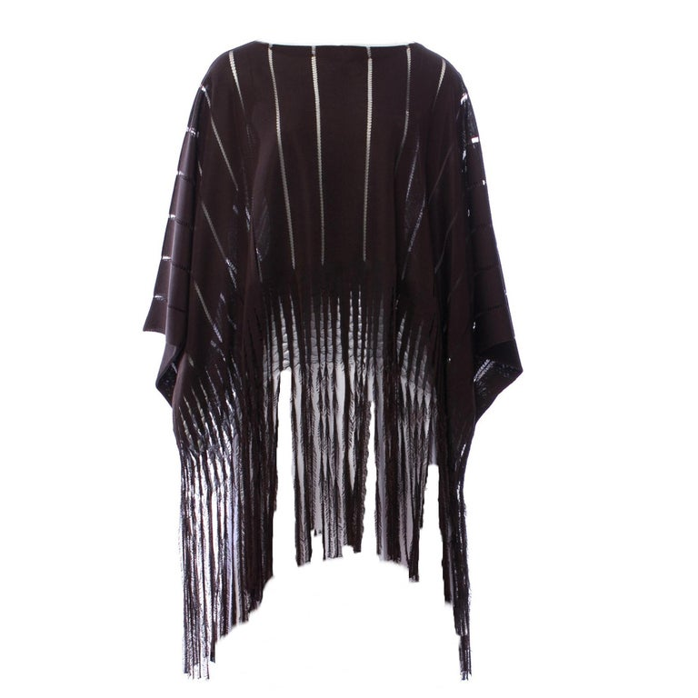 New Rare Tom Ford for Yves Saint Laurent YSL S/S 2002 Silk Poncho Cape One Size In New Condition For Sale In Leesburg, VA