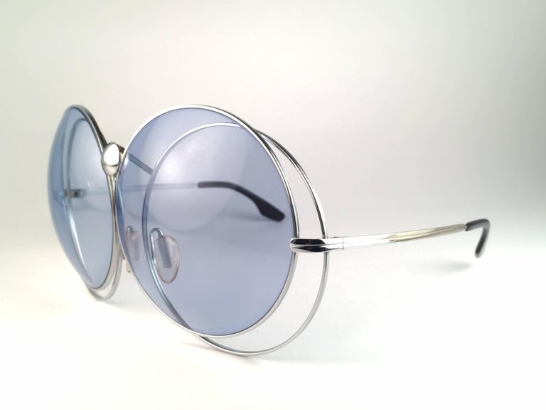 New Rare Vintage Christian Dior Oversized Silver Metal Round Sunglasses 1970's In New Condition For Sale In Amsterdam, Noord Holland