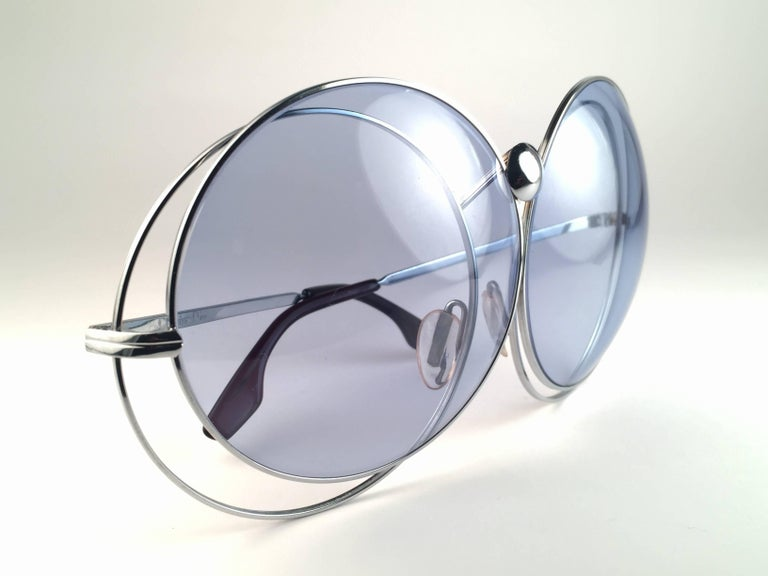 New Rare Vintage Christian Dior Oversized Silver Metal Round Sunglasses 1970's For Sale 1