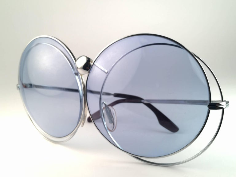 New Rare Vintage Christian Dior Oversized Silver Metal Round Sunglasses 1970's For Sale 2