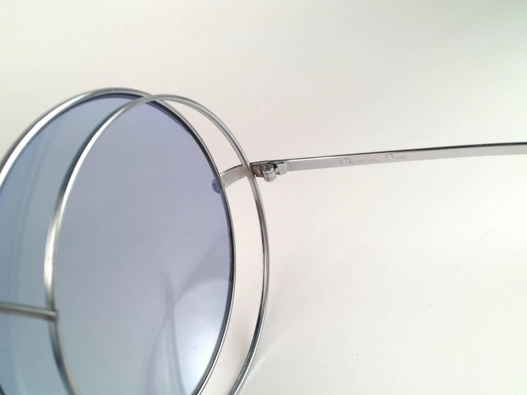 New Rare Vintage Christian Dior Oversized Silver Metal Round Sunglasses 1970's For Sale 3