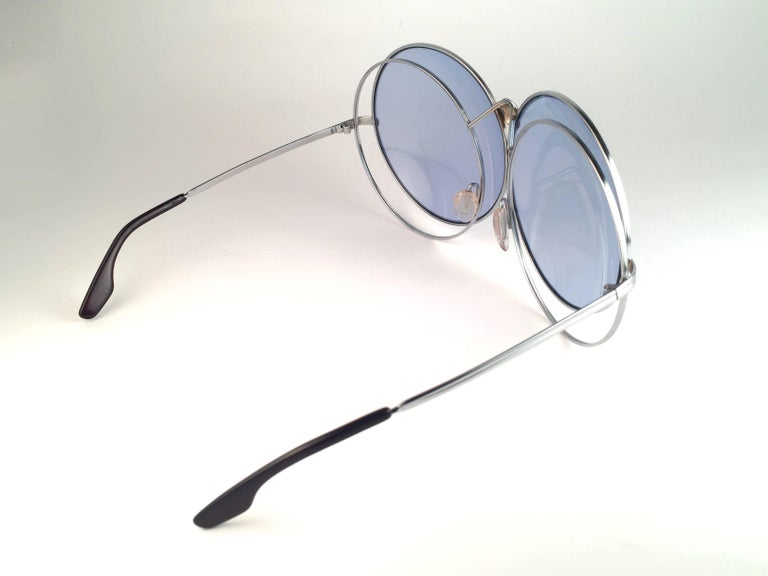 New Rare Vintage Christian Dior Oversized Silver Metal Round Sunglasses 1970's For Sale 4