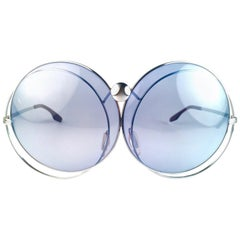 New Rare Vintage Christian Dior Oversized Silver Metal Round Sunglasses 1970's